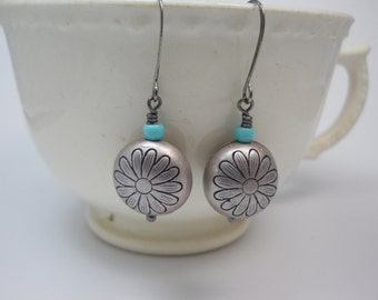 Earrings Dangle Silver Beads Flower  Turquoise Blue Glass Beads Long Gunmetal Ear Wires Lightweight Every Day Jewelry