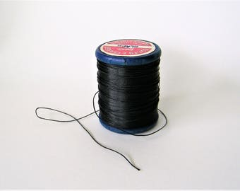 Vintage Button and Carpet Thread, Black, Coats and Clark, 70 Yard Bobbin, Used