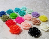 Resin Ruffled Rose Flower Cabochon Small Choose Your Colors 14-15mm 932