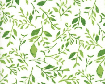 Hazelwood Fabric // White Leaves // 1canoe2 // cotton quilting