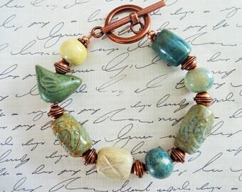 Beaded Bracelet with Handmade Artisan Beads by Gaea