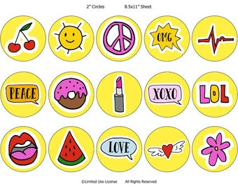 Yellow Icon 2 inch Circles - Buttons, Bows, Bottlecaps