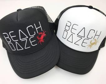 Beach Trucker Hat, Beach Daze Hat, Women's SnapBack, Adjustable, Beachy, Summer Hat, Trooical, Gold Hat, Crab, Ocean Hat, Trucker Hat