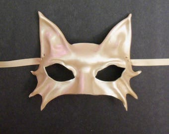 Smaller Size Kitty Cat Mask in Metallic Pearl Cat Leather Mask costume masquerade elegant sexy