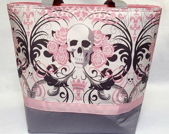 Alexander Henry Pink Skulls Purse Tote Hearts Roses Grey Gray Gifts for Her Gifts under 50 Pockets Crown Forbidden Love