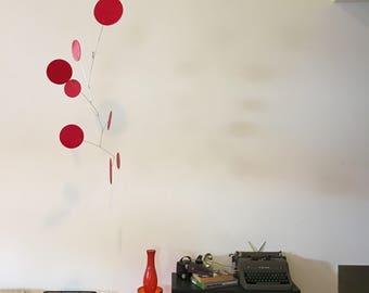 Red Happy Exuberant Art Mobile - 3 Sizes - Midcentury Modern Custom Art Sculpture Eames Calder