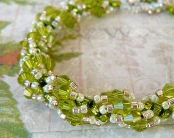 Bright Lime Green Bracelet, Chartreuse Beaded Bracelet, Spiral Stitch Crystal Bracelet, Lime and Peach Beadwork Jewelry, Gift for Her