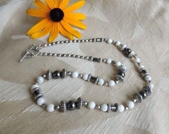 "Necklace Howlite, Hematite, Sterling Silver, Southwestern -  19"" Long"