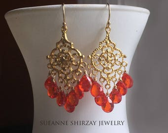 Padparadscha Paradise Chandelier Earrings, cubic zirconia orange earrings. 18k gold vermeil