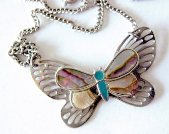 Vintage Butterfly Necklace Mother of Pearl Inlay / Abalone Shell