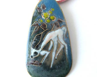 Vintage Handcrafted COPPER ENAMEL Pendant Deer with Flowers / Handpainted in Holland Sagitta Style Enamel Necklace In Blue