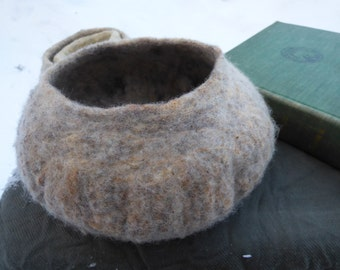 large felted wool bowl, lovingly wet felted with wool from my own sheep