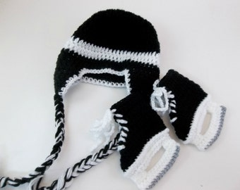 Baby Hockey Skates Baby Booties and Earflap Hat Set Crochet Black Ice Skates & Hat MADE TO ORDER