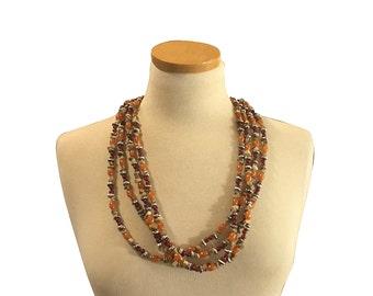 Aventurine & Sterling Necklace | Vintage Fashion | Beaded Long Strand | Hangs Down the Back | Boho Fashion