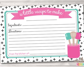 Printable Recipe Cards Black Criss Cross Design with Pink and Blue Kitchen Utensils Instant Download PDF