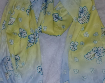yellow and blue floral scarf