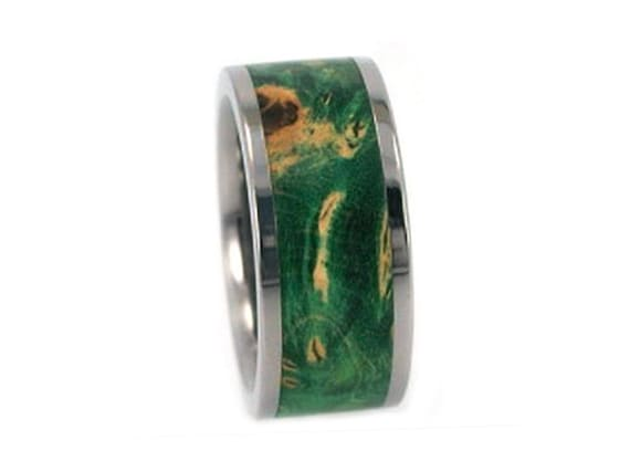 Interchangeable Wooden Wedding Band, Titanium Ring With A Green Box Elder Burl Inlay, Men's Promise Ring