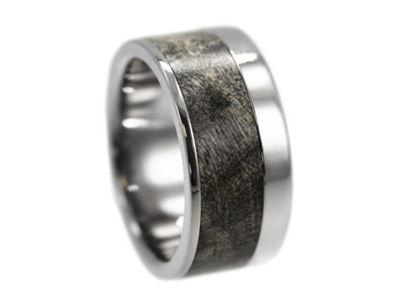 Men's Titanium Ring with Buckeye Burl Wood Inlay / Interchangeable Ring System