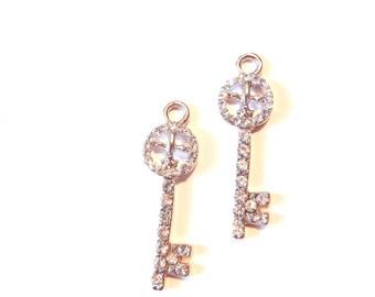 Small Pair of Rhinestone Skeleton Key Fleur de Lis Charms
