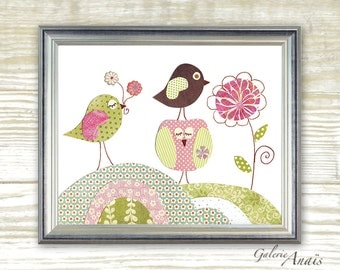 Kids wall art baby nursery decor nursery wall art Birds nursery Owl nursery Flowers Pink green kids decor - A Sunny Day print