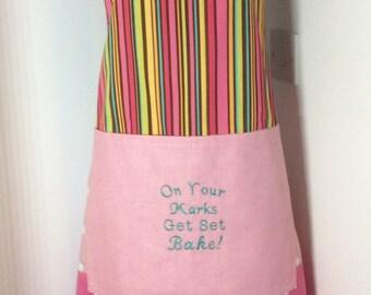 Baking apron,Ladies baking apron- On yer marks get set bake embroidered apron OOAK