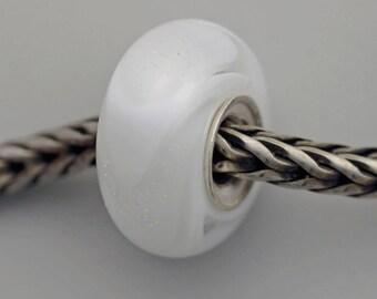 Unique White Dichroic Armadillo/Dillo - Artisan Glass Bracelet Bead - (MAY-43)