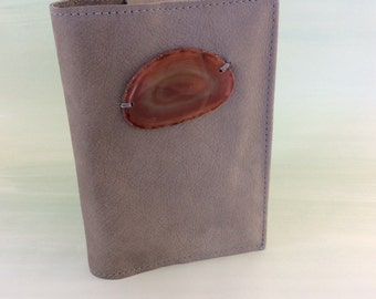 Peace & Healing Agate Journal by Binding Bee / Refillable / Crystal /Agate Slice / Reclaimed Leather