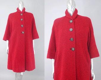 vintage red swing coat | vintage 50s boucle coat | 50s wool coat
