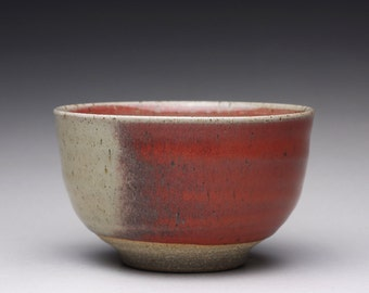 handmade pottery bowl, ceramic chawan, tea bowl with bright red and green celadon glazes