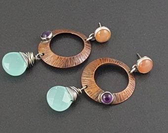 Mixed Metal Earrings, dangle earrings, copper, sterling silver, peach purple blue,moonstone earrings, amethyst earrings, chalcedony earrings