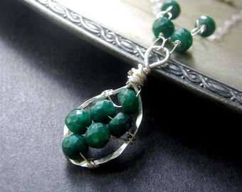 Emerald Necklace, Emerald Sterling Silver Necklace, Emerald Necklace, May Birthstone, Gemstone Necklace