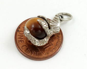 Vintage Sterling Silver Eagle Claw Charm Pendant with Tigers Eye Gemstone Ball, Bracelet Charm