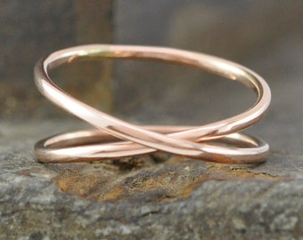 Gold Infinity Ring, 14K Rose any size available, Unique Wedding Band, Sea Babe Jewelry