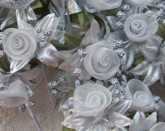 36 pc Rosette Rose Wired Flowers SILVER Organza Satin Ribbon w Pips Bridal Bouquet Hair Bow Accessory