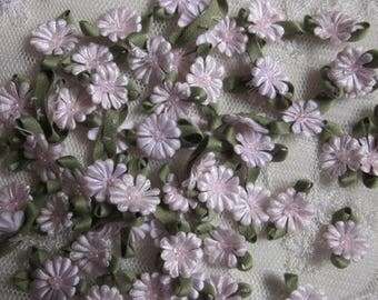 Fabric Flowers 72pc Light PINK Beaded Daisy Shabby Chic Baby Doll Costume Pageant Hair Bow Bridal Wedding Favor