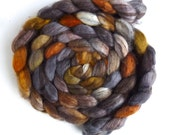Mixed BFL Wool Roving, Hand Painted Spinning or Felting Fiber, 4 ounces, Walk in the Mist