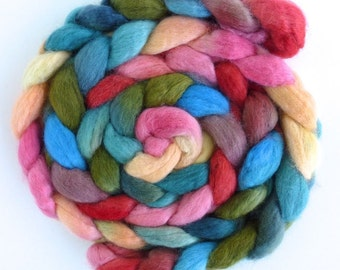 BFL Wool Roving - Hand Painted Spinning or Felting Fiber, Early Blooming