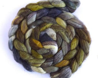 Mixed BFL Wool Roving, Hand Painted Spinning or Felting Fiber, 4 ounces, Hidden in the Woods