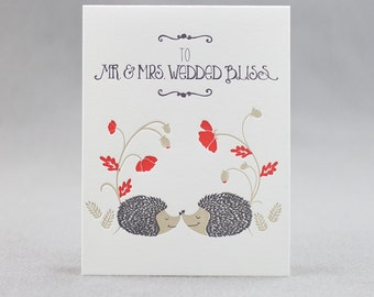 Letterpress Wedding Card, Mr. & Mrs. Wedded Bliss