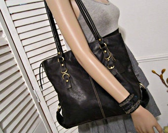 Leather Bag, Leather shoulder bag, handbag with vinyl trim