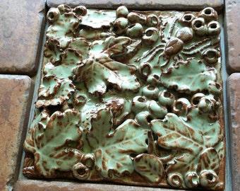 Forest Floor Adventure Scavenger Hunt Green Rust Moss Beetle Spider Lizard Stoneware Garden Tile
