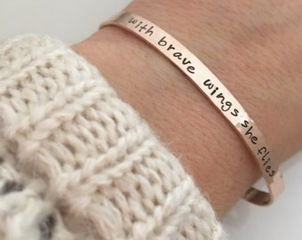 Inspirational Gift for her - With Brave Wings She Flies Bracelet  - quote bracelet- rose gold filled cuff bracelet -  skinny cuff bracelet