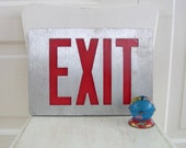 Metal Exit Sign, Vintage Sign, Metal Sign, Vintage Exit Sign, Metal Red Sign, Industrial Decor, Industrial Sign