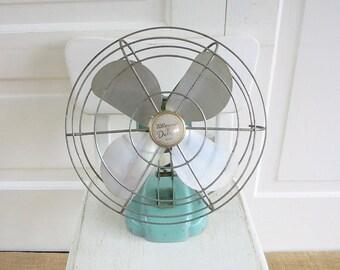 Vintage Metal Fan, Vintage Aqua Blue Fan, Aqua Fan, Vintage Wizard Fan, Industrial Fan, Industrial Decor, Vintage Fan
