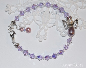 Baby Girl Angel Sweetness Violet & Mauve Pearl Bracelet, for Angel Lover, Mother Jewelry, Guardian Jewelry, New Baby Gift, Infant Loss