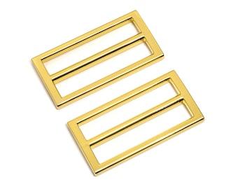"30pcs - 2"" (50mm) Flat Diecast Slide Buckle - Gold - (FBK-121) - Free Shipping"