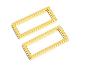 "50pcs - 1 1/2"" (38mm) Flat Zinc Square Ring - Gold - (FSR-117) - Free Shipping"
