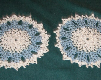 "Two 6"" Round Doilies, Blue and white"