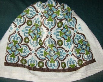 Crochet Kitchen Hanging Towel white with blue and brown,  white top, Ritz Design