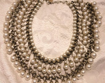 Vintage Vendome Faux Pearl Bib Cleopatra Necklace. Measures About 16 Inches Long and is 2 3/4 Inches Wide. Beautiful Wedding Jewelry. (D11)